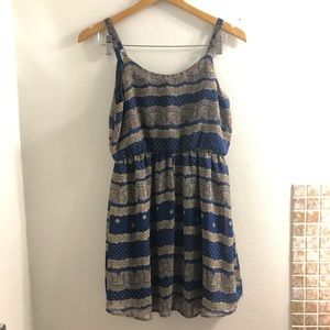 Lush Sheer Navy Patterned Dress
